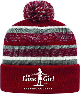 Lone Girl Brewing Company Red Knit Hat w/ Pom-Pom