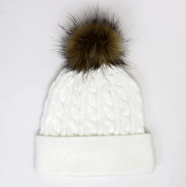 Lone Girl Brewing Company White Knit Hat w/ Faux Fur Pom-Pom
